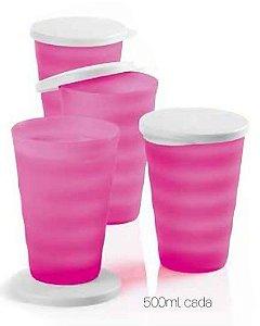 Tupperware Kit 4 peças Copos Murano Rosa Neon