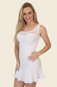 Minivestido Sensual transparente em elanca light JR05