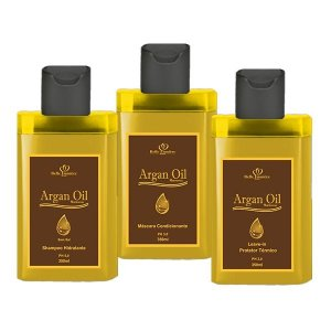 KIT Manutenção Argan Oil - Shampoo / Condicionador / Leavein - Protetor Térmico 350ML