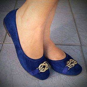 Sapatilha Azul Royal com Fivela Dourada