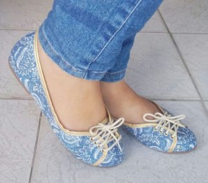 Sapatilha Cadarço Jeans Azul