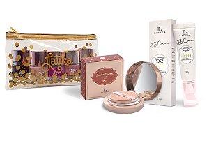Powder Bege Escuro + BB cream Bege Escuro + Kit Necessaire Confetti