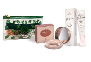 Powder Bege Claro + BB cream Bege Claro + Kit Necessaire Cactus