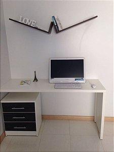 Conjunto Home Office, Mesa , Gaveteiro, par de Prateleira