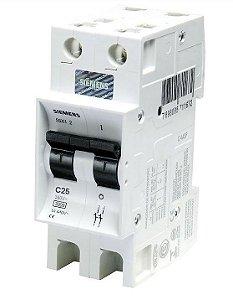 Disjuntor Bipolar Curva C 25A 220/380V 3KA Siemens