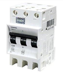 Disjuntor Siemens 5SX1 Tripolar Curva C 25A 220/380V 3KA