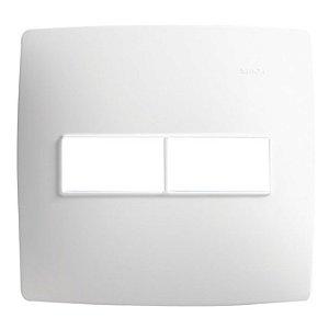 Placa 4 X 4 - 2 Postos Horizontais Branco c/ Suporte - Simon 30