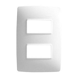 Placa 4 X 2 - 2 Postos Separados Branco + Suporte - Simon 30