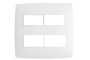 Placa 4 X 4 - 4 Postos Separados Branco c/ Suporte - Simon 30