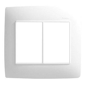 Placa 4 X 4 - 6 Postos Horizontais Branco c/ Suporte - Simon 30