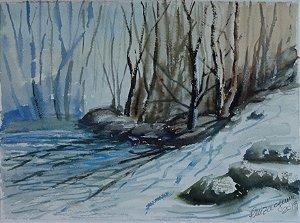 Pintura Original Em Aquarela Paisagem De Inverno Com Neve 28x20cm