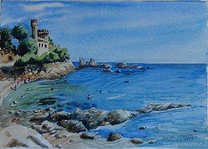 Pintura Original Em Aquarela Costa Brava-Espanha 28x20cm - Tela/Quadro Para Decoração Da Sua Casa
