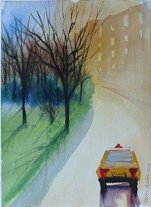 Pintura Original Em Aquarela - No Táxi I 28x20 cm - Tela/Quadro Para Decoração Da Sua Casa