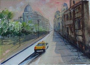 Pintura Original Em Aquarela No Taxi II 28x20cm - Tela/Quadro Para Decoração Da Sua Casa