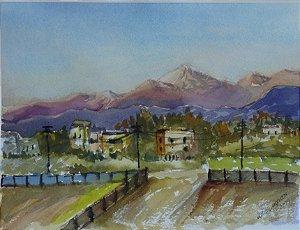 Pintura Original Em Aquarela Vista Dos Andes 28x20cm - Tela/Quadro Para Decoração Da Sua Casa