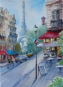 Pintura Original Em Aquarela Paris 28x20cm - Tela/Quadro Para Decoração Da Sua Casa