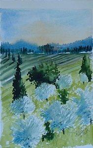 VENDIDO - Pintura Original Em Aquarela - Campos Da Toscana I 26x17 cm - Tela/Quadro Para Decoração Da Sua Casa