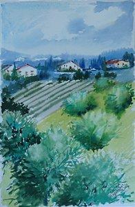 Pintura Original Em Aquarela Campos da Toscana II 26x17cm - Tela/Quadro Para Decoração Da Sua Casa