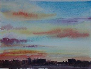 Pintura Original Em Aquarela Por Do Sol 29x21cm - Tela/Quadro Para Decoração Da Sua Casa