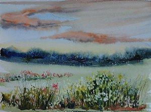 Pintura Original Em Aquarela Campo Com Flores I 29x21cm - Tela/Quadro Para Decoração Da Sua Casa