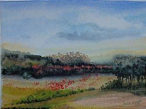 Pintura Original Em Aquarela Campo Com Flores II 29x21cm - Tela/Quadro Para Decoração Da Sua Casa