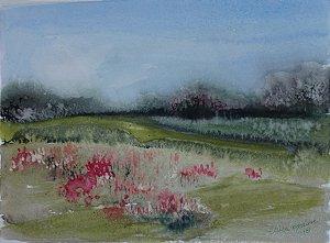 Pintura Original Em Aquarela - Campo Com Flores V 29x21 cm - Tela/Quadro Para Decoração Da Sua Casa