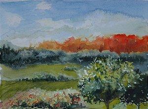 Pintura Original Em Aquarela Paisagem de Outono 29x21cm - Tela/Quadro Para Decoração Da Sua Casa