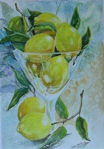 VENDIDO - Pintura Original Em Aquarela - Limões I 39x27 cm - Tela/Quadro Para Decoração Da Sua Casa