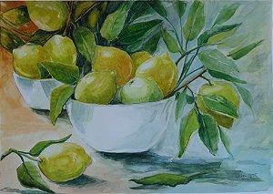 VENDIDO - Pintura Original Em Aquarela - Limões II 39x27 cm - Tela/Quadro Para Decoração Da Sua Casa