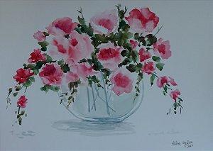 Pintura Original Em Aquarela Flores I 39x27cm - Tela/Quadro Para Decoração Da Sua Casa
