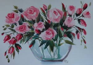 VENDIDO - Pintura Original Em Aquarela - Flores II 39x27 cm - Tela/Quadro Para Decoração Da Sua Casa