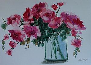 VENDIDO - Pintura Original Em Aquarela - Flores III 39x27 cm - Tela/Quadro Para Decoração Da Sua Casa
