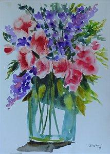 Pintura Original Em Aquarela Flores IV 39x27cm - Tela/Quadro Para Decoração Da Sua Casa
