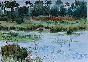 Pintura Original Em Aquarela Lago-Paisagem I 39x27cm - Tela/Quadro Para Decoração Da Sua Casa