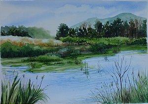Pintura Original Em Aquarela Lago-Paisagem II 39x27cm - Tela/Quadro Para Decoração Da Sua Casa