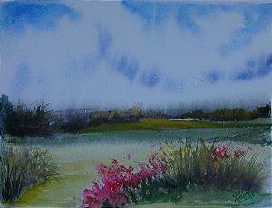 Pintura Original Em Aquarela Paisagem Com Flores 33x25cm - Tela/Quadro Para Decoração Da Sua Casa