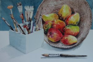Pintura Original Em Aquarela Meus Pincéis e Mangas 43x27cm- Tela/Quadro Para Decoração Da Sua Casa