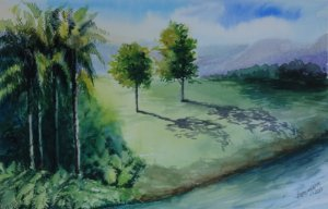 Pintura Original Em Aquarela Paisagem Com Palmeiras 40x26cm - Tela/Quadro Para Decoração Da Sua Casa