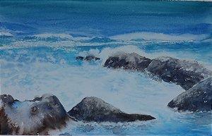 Pintura Original Em Aquarela Paisagem De Mar Com Rochas 40x26cm - Tela/Quadro Para Decoração Da Sua Casa