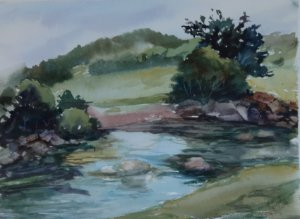 Pintura Original Em Aquarela Um Certo Rio Na Espanha 36x26cm - Tela/Quadro Para Decoração Da Sua Casa