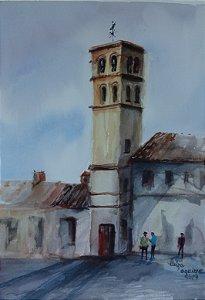 Pintura Original Em Aquarela - Campanário 36x26 cm - Tela/Quadro Para Decoração Da Sua Casa