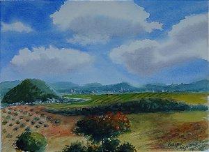 Pintura Original Em Aquarela - Uma Paisagem 36x26 cm - Tela/Quadro Para Decoração Da Sua Casa