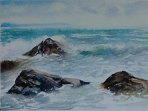 Pintura Original Em Aquarela - Costa Brava Espanhola 36x26 cm - Tela/Quadro Para Decoração Da Sua Casa