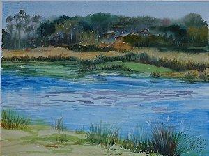 Pintura Original Em Aquarela Laguinho-Inspiração 36x26cm - Tela/Quadro Para Decoração Da Sua Casa