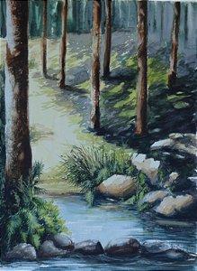 Pintura Original Em Aquarela Bosque 36x26cm - Tela/Quadro Para Decoração Da Sua Casa