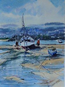 Pintura Original Em Aquarela Barcos De Pesca 36x26cm - Tela/Quadro Para Decoração Da Sua Casa