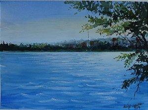 Pintura Original Em Aquarela Vista Do Lago Paranoá 36x26cm - Tela/Quadro Para Decoração Da Sua Casa