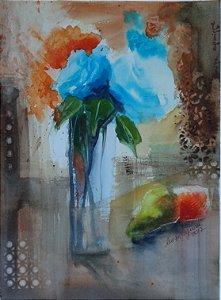 Pintura Original Em Aquarela Natureza Morta-Flores e Frutas II 36x26cm - Tela/Quadro Para Decoração Da Sua Casa
