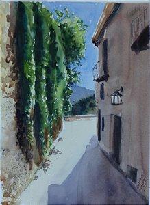 Pintura Original Em Aquarela - Rua Estreita Na Toscana 36x26 - Tela/Quadro Para Decoração Da Sua Casa
