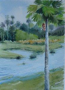 Pintura Original Em Aquarela - Lago e Buriti 36x26 cm - Tela/Quadro Para Decoração Da Sua Casa